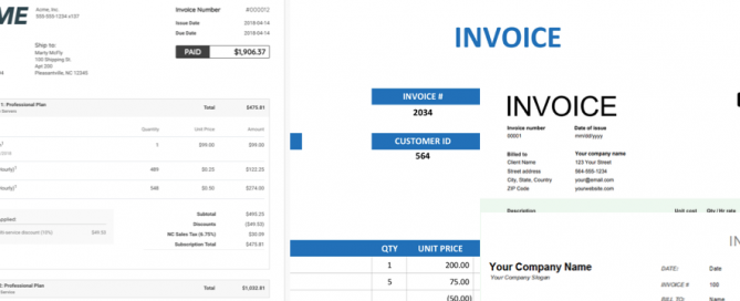 Invoices collage